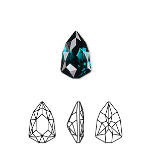 embellishment, swarovski crystal rhinestone, emerald, foil back, 13.6x8.6mm faceted trilliant fancy stone (4707). sold per pkg of 72.