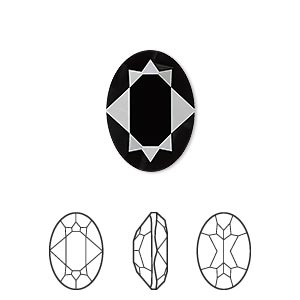 embellishment, swarovski crystal rhinestone, jet, 18x13mm faceted oval fancy stone (4120). sold per pkg of 48.
