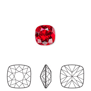 embellishment, swarovski crystal rhinestone, light siam, foil back, 10mm faceted cushion fancy stone (4470). sold per pkg of 144 (1 gross).