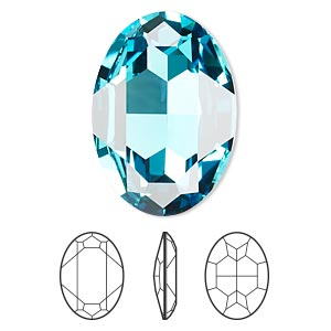 embellishment, swarovski crystal rhinestone, light turquoise, foil back, 30x22mm faceted oval fancy stone (4127). sold per pkg of 24.