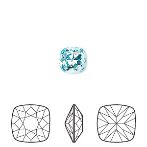 embellishment, swarovski crystal rhinestone, light turquoise, foil back, 8mm faceted cushion fancy stone (4470). sold per pkg of 72.