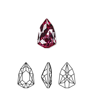 embellishment, swarovski crystal rhinestone, rose, foil back, 13.6x8.6mm faceted trilliant fancy stone (4707). sold per pkg of 72.
