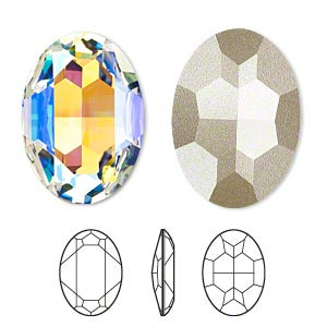 embellishment, swarovski crystal rhinestone with third-party coating, crystal passions, crystal glacier blue, foil back, 30x22mm faceted oval fancy stone (4127). sold per pkg of 4.