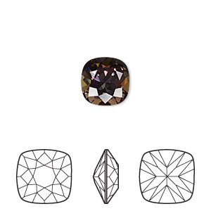 embellishment, swarovski crystal rhinestone with third-party coating, crystal passions, crystal twilight, 10mm faceted cushion fancy stone (4470). sold per pkg of 6.