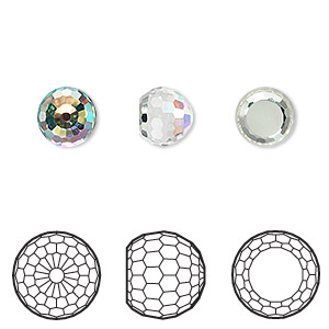 embellishment, swarovski crystals, crystal passions, crystal ab, foil back, 8mm faceted ball fancy stone (4869). sold per pkg of 2.