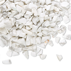 embellishment, white howlite (natural), mini undrilled chip, mohs hardness 3 to 3-1/2. sold per 50-gram pkg, approximately 550-700 pieces.
