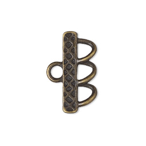 end bar, antique brass-finished pewter (zinc-based alloy), 25x4.5mm single-sided diamond design with 3 loops. sold per pkg of 6.