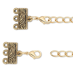 end bar, antique gold-finished pewter (zinc-based alloy), 32x13mm with 13x6mm 3-strand rectangle and 3-inch extender chain with lobster claw clasp. sold per pkg of 6.