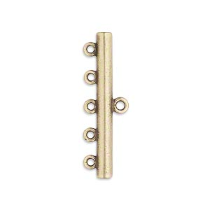 end bar, jbb findings, antiqued brass, 30.5x3.5mm single-sided bar with 5 bottom loops. sold per pkg of 2.
