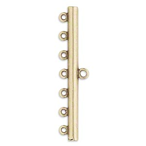 end bar, jbb findings, antiqued brass, 44x3.5mm single-sided bar with 7 bottom loops. sold per pkg of 2.