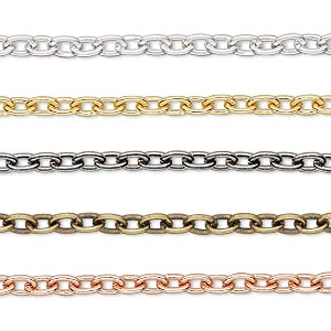 extender chain, gold- / silver- / gunmetal- / copper- / antique gold-plated brass, 4.8x3.3mm cable. sold per pkg of (5) 3-inch sections.