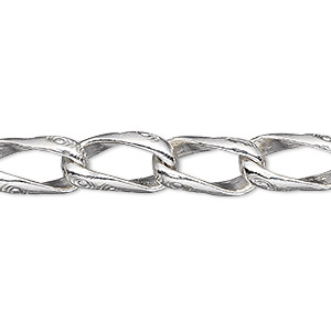 extender chain, hill tribes, fine silver, 8mm textured curb, 2 inches. sold individually.