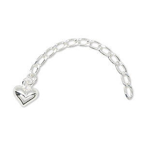 extender chain, sterling silver, 5x3mm long cable link with 6.5x5mm heart, 2 inches. sold individually.