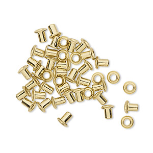 eyelet, brass, 3.5mm with 3x2.4mm tube and 1.7mm inside diameter, fits 2.5-3.5mm hole. sold per pkg of 50.