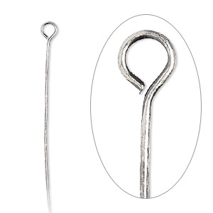 eyepin, antique silver-plated brass, 1-1/2 inch, 24 gauge. sold per pkg of 100.
