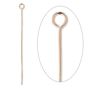 eyepin, copper, 2 inches, 22 gauge. sold per pkg of 500.