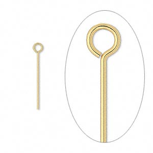 eyepin, gold-plated brass, 3/4 inch, 24 gauge. sold per pkg of 500.