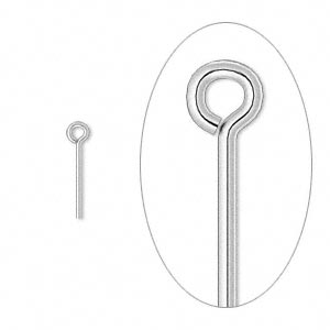 eyepin, silver-plated brass, 1/2 inch, 21 gauge. sold per pkg of 500.