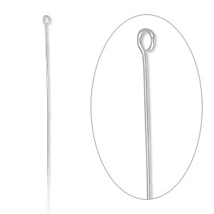 eyepin, sterling silver-filled, 2-1/16 inches, 26 gauge. sold per pkg of 10.