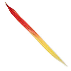 faux feather, polyester, red and yellow, 16 inches. sold per pkg of 10.