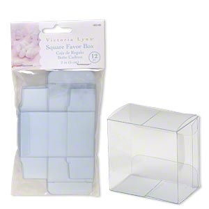 favor box, victoria lynn™, plastic, clear, 2 x 2 x 1-1/4 inch square. sold per pkg of 12.