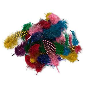 feather mix, guinea (dyed), mixed colors, 2-4 inches. sold per 0.1 ounce pkg, approximately 95 feathers.