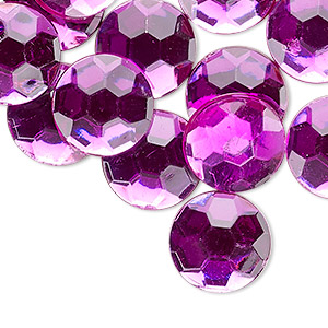 flat back, acrylic, transparent magenta, 14mm faceted round. sold per pkg of 24.