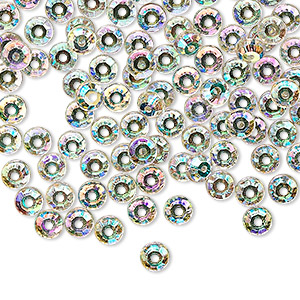 flat back, czech glass rhinestone, clear ab, 4.6-4.8mm round loch rosen, ss20. sold per pkg of 144 (1 gross).