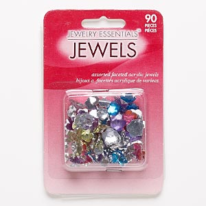 flat back mix, acrylic, mixed colors, 6x6mm-12x12mm faceted flower. sold per pkg of 90.