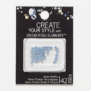 flat back, swarovski crystal hotfix rhinestone, air blue opal, foil back, 3-3.2mm xilion rose (2038), ss12. sold per pkg of 42.