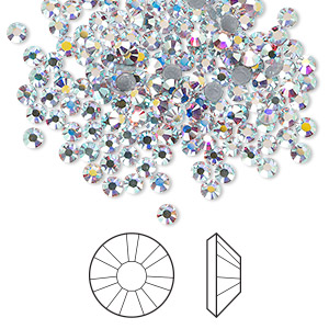 flat back, swarovski crystal hotfix rhinestone, crystal ab, foil back, 2.7-2.9mm xilion rose (2038), ss10. sold per pkg of 1,440 (10 gross).