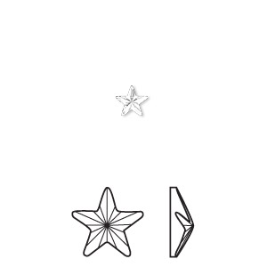 flat back, swarovski crystal hotfix rhinestone, crystal passions, crystal clear, foil back, 5.5x5mm faceted rivoli star (2816). sold per pkg of 6.