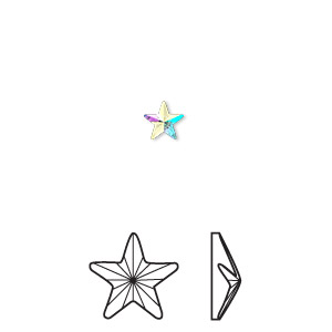 flat back, swarovski crystal hotfix rhinestone, crystal passions, crystal ab, foil back, 5.5x5mm faceted rivoli star (2816). sold per pkg of 6.