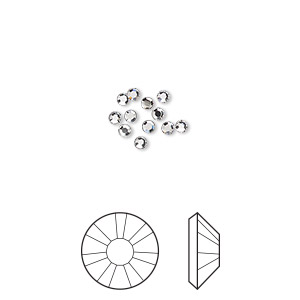 flat back, swarovski crystal hotfix rhinestone, crystal passions, crystal clear, foil back, 1.9-2.1mm xilion rose (2038), ss6. sold per pkg of 12.