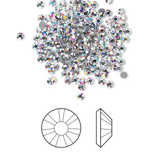flat back, swarovski crystal hotfix rhinestone, crystal passions, crystal ab, foil back, 1.9-2.1mm xilion rose (2038), ss6. sold per pkg of 144 (1 gross).