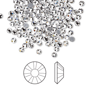 flat back, swarovski crystal hotfix rhinestone, crystal passions, crystal clear, foil back, 2.7-2.9mm xilion rose (2038), ss10. sold per pkg of 144 (1 gross).