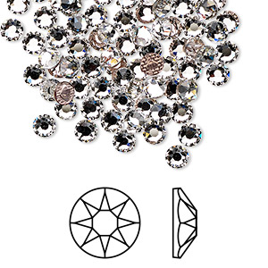 flat back, swarovski crystal hotfix rhinestone, crystal passions, crystal clear, foil back, 3.8-4mm xirius rose (2078), ss16. sold per pkg of 144 (1 gross).