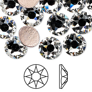 flat back, swarovski crystal hotfix rhinestone, crystal passions, crystal clear, foil back, 10.91-11.3mm xirius rose (2078), ss48. sold per pkg of 12.