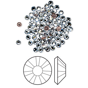 flat back, swarovski crystal hotfix rhinestone, crystal passions, crystal blue shade, foil back, 2.3-2.5mm xilion rose (2038), ss8. sold per pkg of 12.