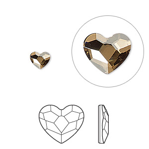 flat back, swarovski crystal hotfix rhinestone, crystal passions, crystal golden shadow, foil back, 6mm faceted heart (2808). sold per pkg of 2.