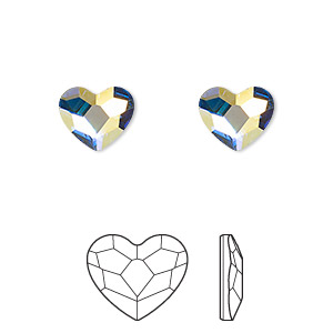flat back, swarovski crystal hotfix rhinestone, crystal passions, crystal ab, foil back, 10mm faceted heart (2808hf). sold per pkg of 2.