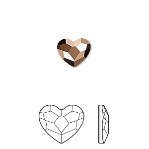flat back, swarovski crystal hotfix rhinestone, crystal passions, crystal rose gold, foil back, 10x8.5mm faceted heart (2808hf). sold per pkg of 2.