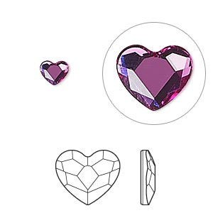flat back, swarovski crystal hotfix rhinestone, crystal passions, fuchsia, foil back, 6mm faceted heart (2808hf). sold per pkg of 2.