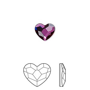flat back, swarovski crystal hotfix rhinestone, crystal passions, fuchsia, foil back, 10mm faceted heart (2808). sold per pkg of 24.