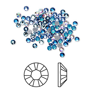 flat back, swarovski crystal hotfix rhinestone, crystal passions, glacier, foil back, 2.3-2.5mm xilion rose (2028), ss8. sold per pkg of 144 (1 gross).