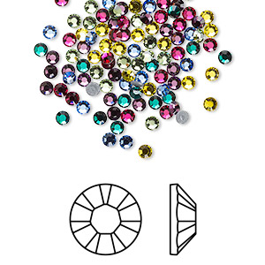 flat back, swarovski crystal hotfix rhinestone, crystal passions, jewel, foil back, 2.3-2.5mm xilion rose (2028), ss8. sold per pkg of 144 (1 gross).