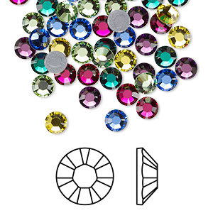 flat back, swarovski crystal hotfix rhinestone, crystal passions, jewel, foil back, 4.6-4.8mm xilion rose (2028), ss20. sold per pkg of 72.