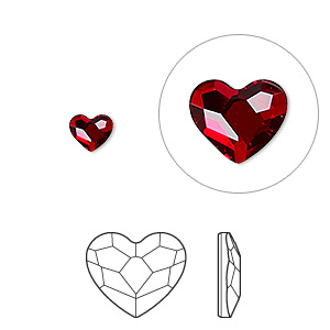 flat back, swarovski crystal hotfix rhinestone, crystal passions, light siam, foil back, 6mm faceted heart (2808). sold per pkg of 24.