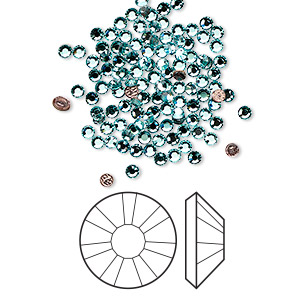 flat back, swarovski crystal hotfix rhinestone, crystal passions, light turquoise, foil back, 1.9-2.1mm xilion rose (2038), ss6. sold per pkg of 12.