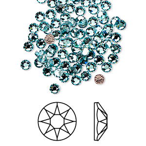 flat back, swarovski crystal hotfix rhinestone, crystal passions, light turquoise, foil back, 3-3.2mm xirius rose (2078), ss12. sold per pkg of 12.